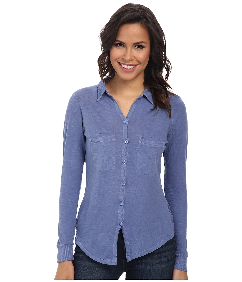 Alternative - Slub Everyday Button Up Shirt (Dusk Blue) Women's Long Sleeve Button Up