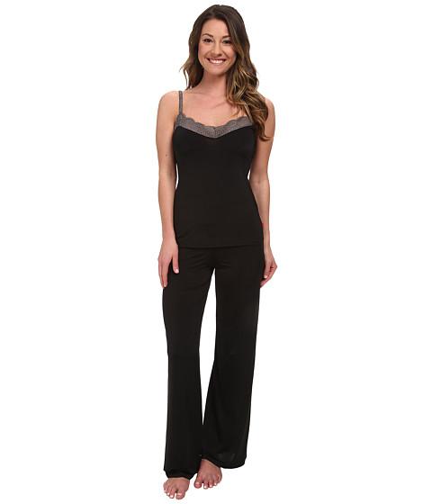Josie - Slinky Basics PJ (Black/Dark Charcoal Lace) Women's Pajama Sets