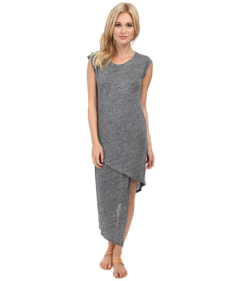 Alternative - Linen Asymmetrical Midi Dress (Charcoal Heather) Women's Dress