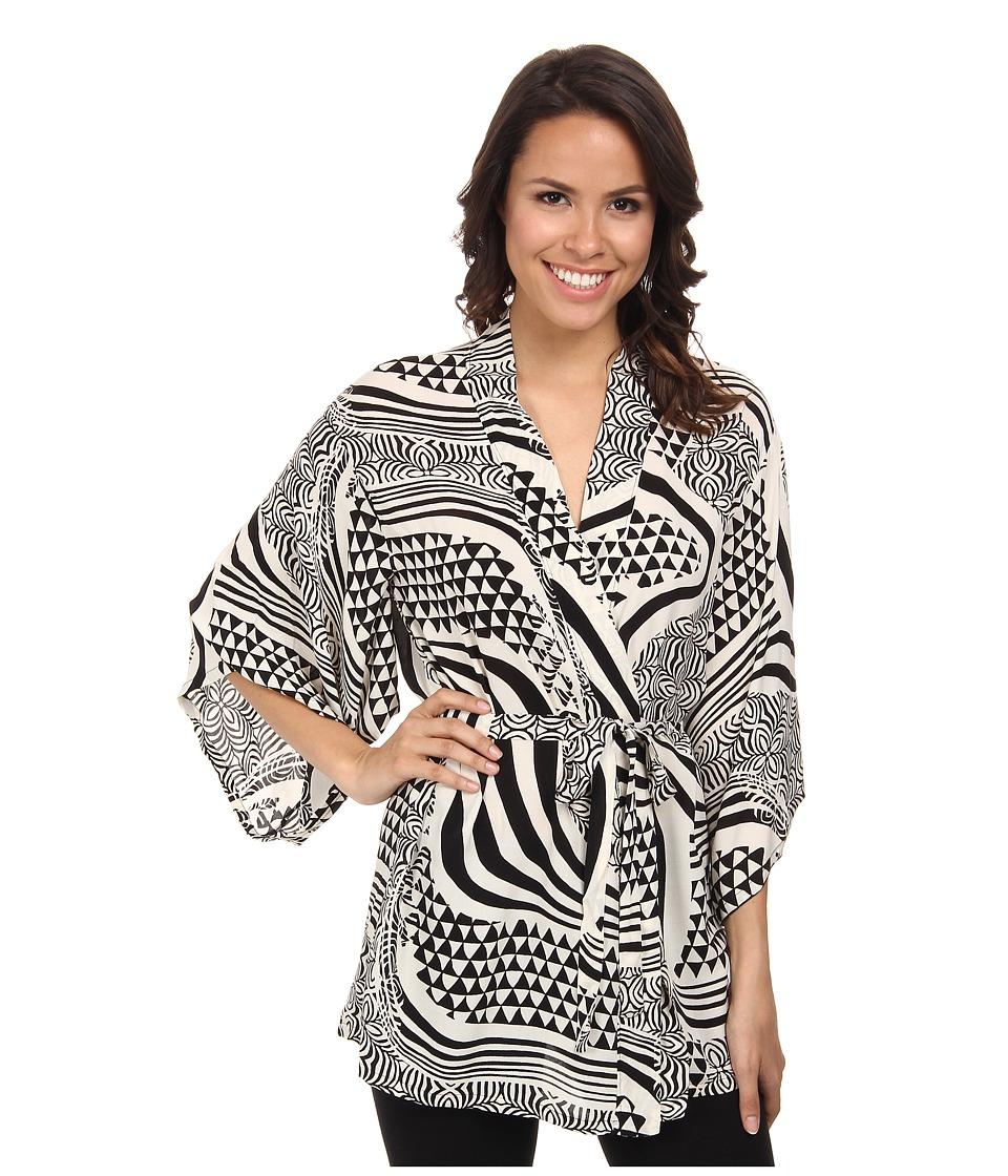 Josie - Woodcut Happi Coat (Black) Women's Pajama