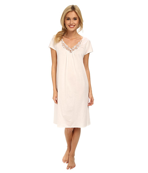 Hanro - Roma Short Sleeve Gown (White) Women's Pajama