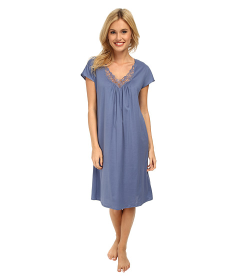Hanro - Roma Short Sleeve Gown (Blue Shadow) Women's Pajama
