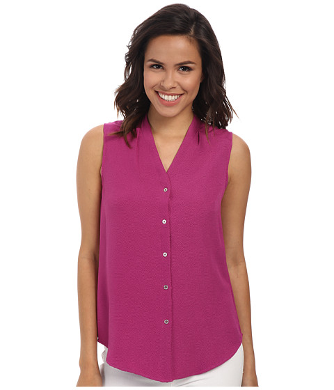 Calvin Klein - Sleeveless Crepe Button Front (Vivid Purple) Women