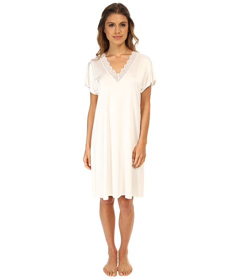Hanro - Capri Short Sleeve Gown (Off White) Women