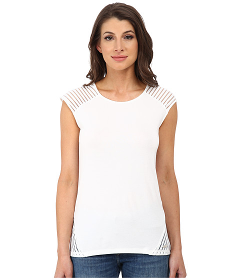 Calvin Klein - Short Sleeve Top w/ Shawdow Stripe (Soft White) Women's Short Sleeve Knit