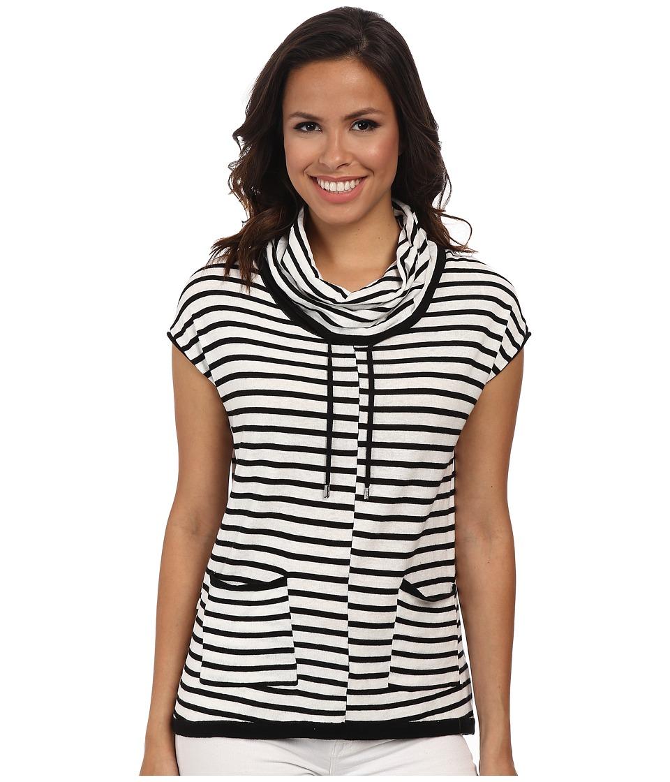 Calvin Klein - Sleeveless Stripe Funnel Neck Sweater (Soft White/Black Combo) Women