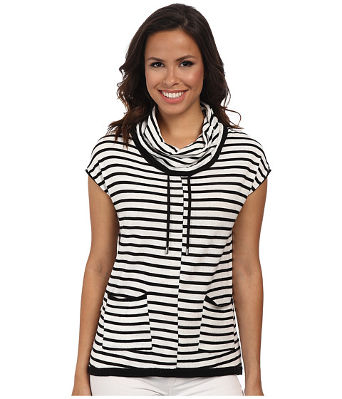 Calvin Klein - Sleeveless Stripe Funnel Neck Sweater (Soft White/Black Combo) Women