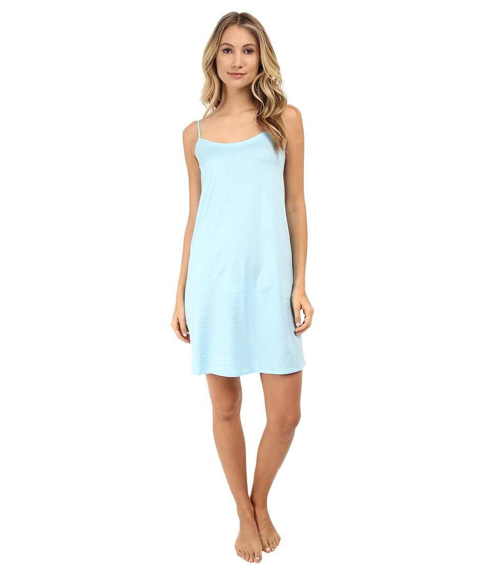 Hanro - Cotton Deluxe Chemise Long Tank Gown (Reef Blue) Women
