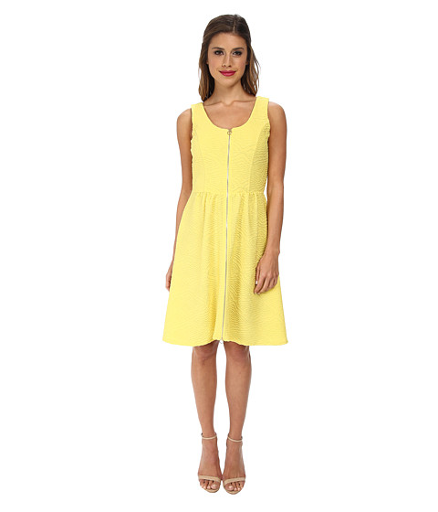Calvin Klein - Fit Flare Textured Jersey Dress (Daisy) Women