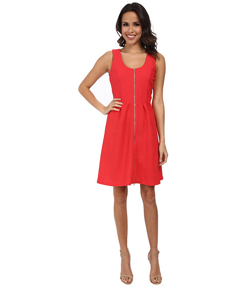 Calvin Klein - Fit Flare Textured Jersey Dress (Watermelon) Women
