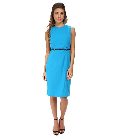 Calvin Klein - Sheath Dress Belted at Waist (Cerulean) Women's Dress