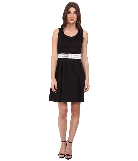Calvin Klein - Fit Flare Dress w/ Wide Belt (Black) Women's Dress