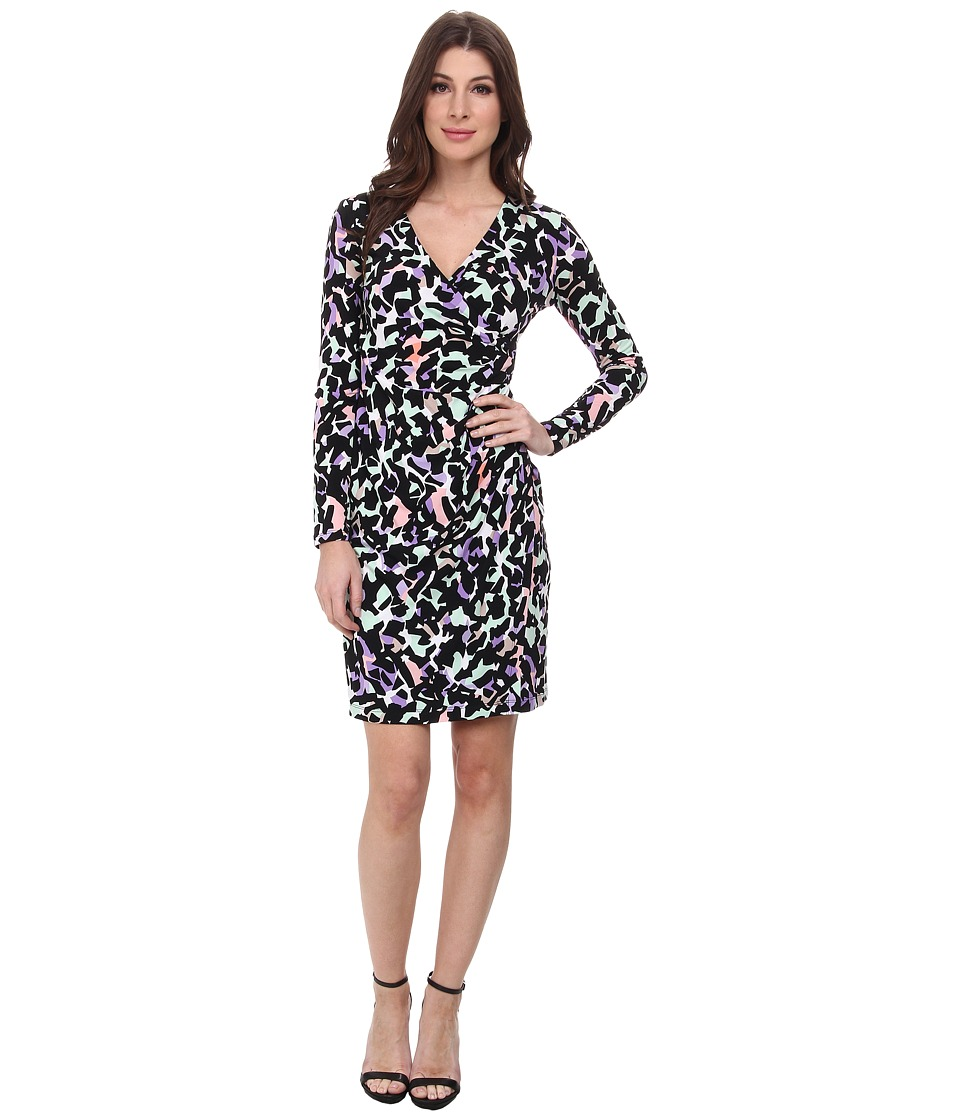 Calvin Klein - Printed Asymmetrical Jersey Dress (Iris Multi) Women's Dress