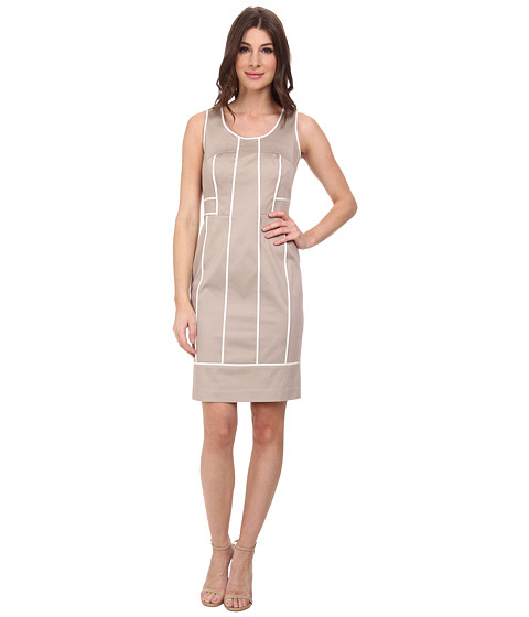 Calvin Klein - Brocade Scoop Neck Sheath Dress (Khaki) Women's Dress