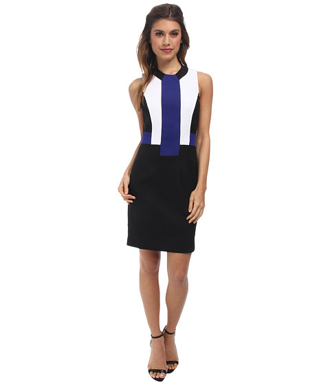 French Connection - Edyta Stretch Dress 71DIC (Black/Monarch Blue/Summer White) Women