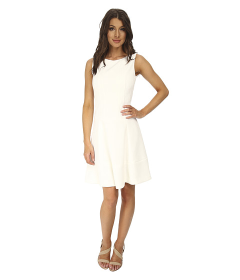 Calvin Klein - Drop Waist Fit Flare Dress (White) Women's Dress