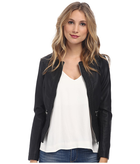 French Connection - Plush PU Jacket 75DBO (Black) Women's Coat