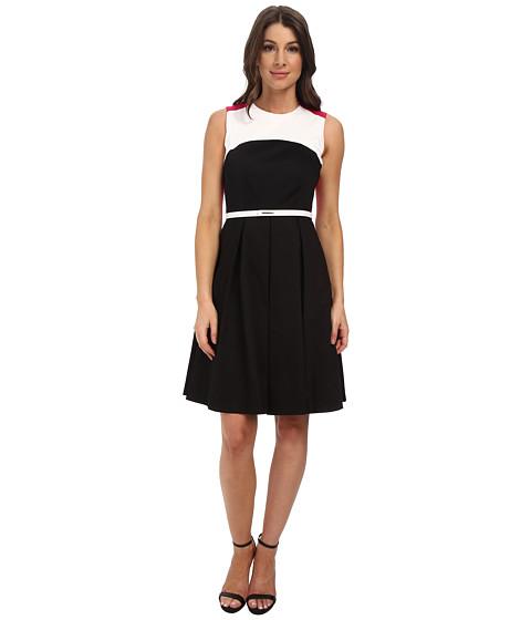 Calvin Klein - Color Block Fit Flare Dress (Black/Hibiscus/White) Women's Dress
