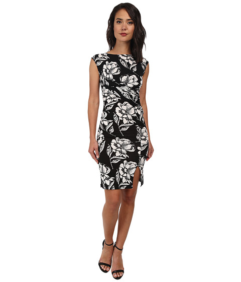French Connection - Shadlow Bloom Mono Dress 71DHW (Black Multi) Women