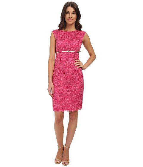 Calvin Klein - Lace Empire Waist Sheath Dress (Hibiscus/Coral) Women
