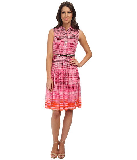 Calvin Klein - Chiffon Button Front Dress (Hibiscus Multi) Women