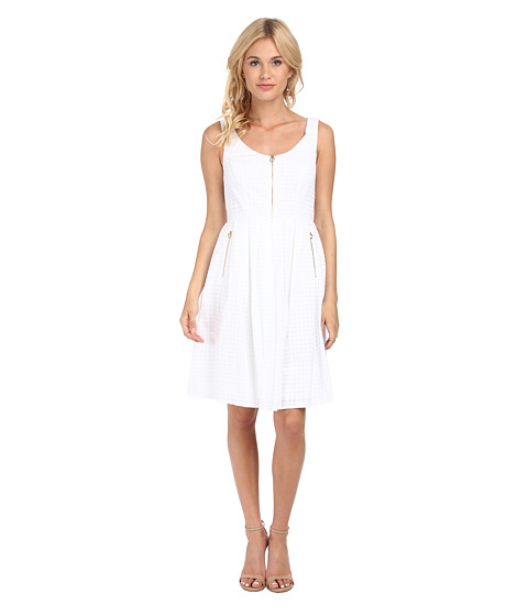 Calvin Klein - Fit Flare Dress w/ Zipper Front Bodice (White) Women