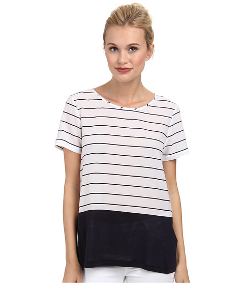 French Connection - Polly Plains Top 76DXA (Summer White/Navy) Women's Clothing