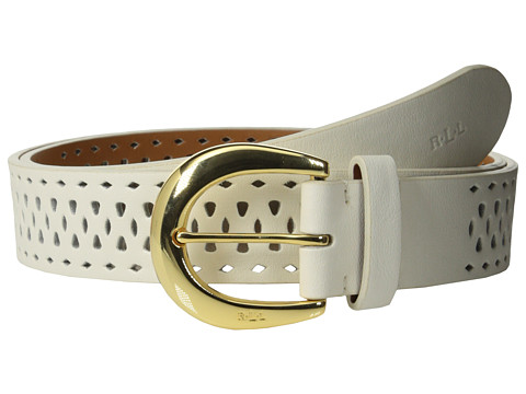 LAUREN by Ralph Lauren - Perforated 1 3/8 Belt (Vanilla) Women's Belts
