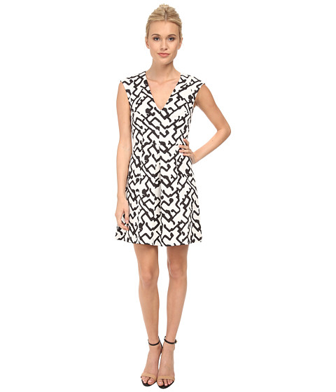 French Connection - Downtown Grid Cotton Dress 71DIM (Summer White/Black) Women's Dress