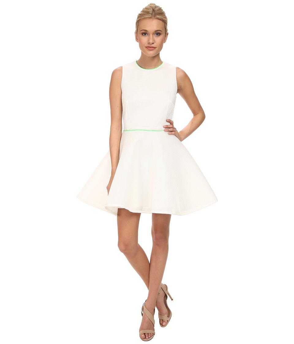 French Connection - Honey Mesh Dress 71DAO (White/Fluoro Green) Women