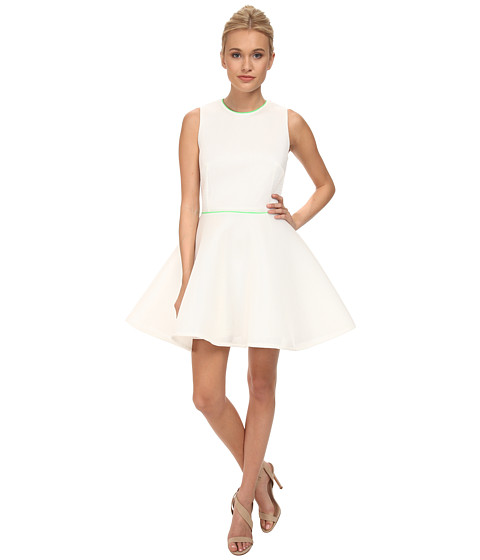 French Connection - Honey Mesh Dress 71DAO (White/Fluoro Green) Women's Dress