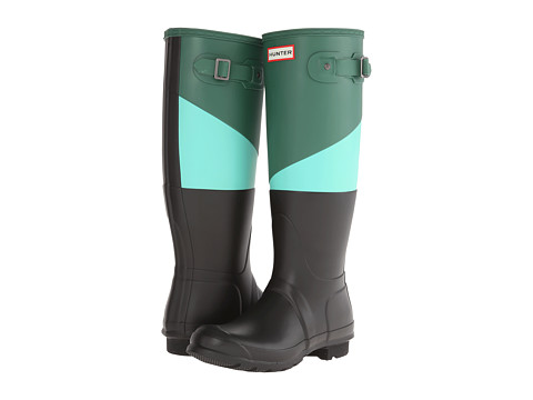 Hunter - Asymmetric Colour Block (Dark Malachite/Tourmaline Green/Black) Women's Rain Boots