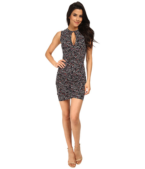 French Connection - Confetti Grid Jersey Dress 71DHS (Black Multi) Women