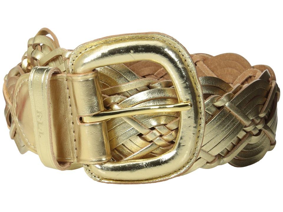 LAUREN Ralph Lauren - Woven 2 Link Centerbar Buckle Belt (Champagne) Women's Belts