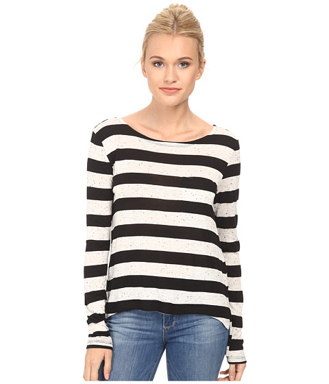 French Connection - Horizon Stripe Top 76DAT (Grey Mel/Black) Women's Long Sleeve Pullover