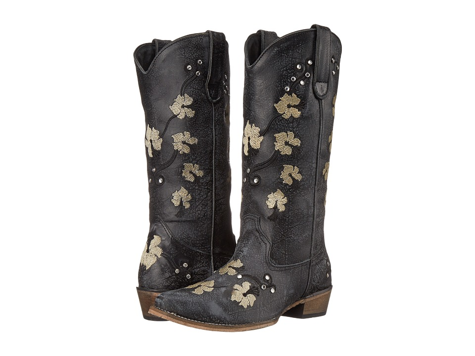 Roper - Flower Power (Black) Cowboy Boots