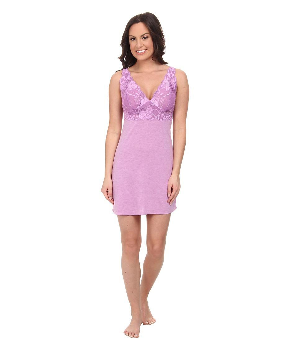 Natori - Zen Floral Chemise (Heather Passion Purple/Light Passion Purple Lace) Women's Lingerie