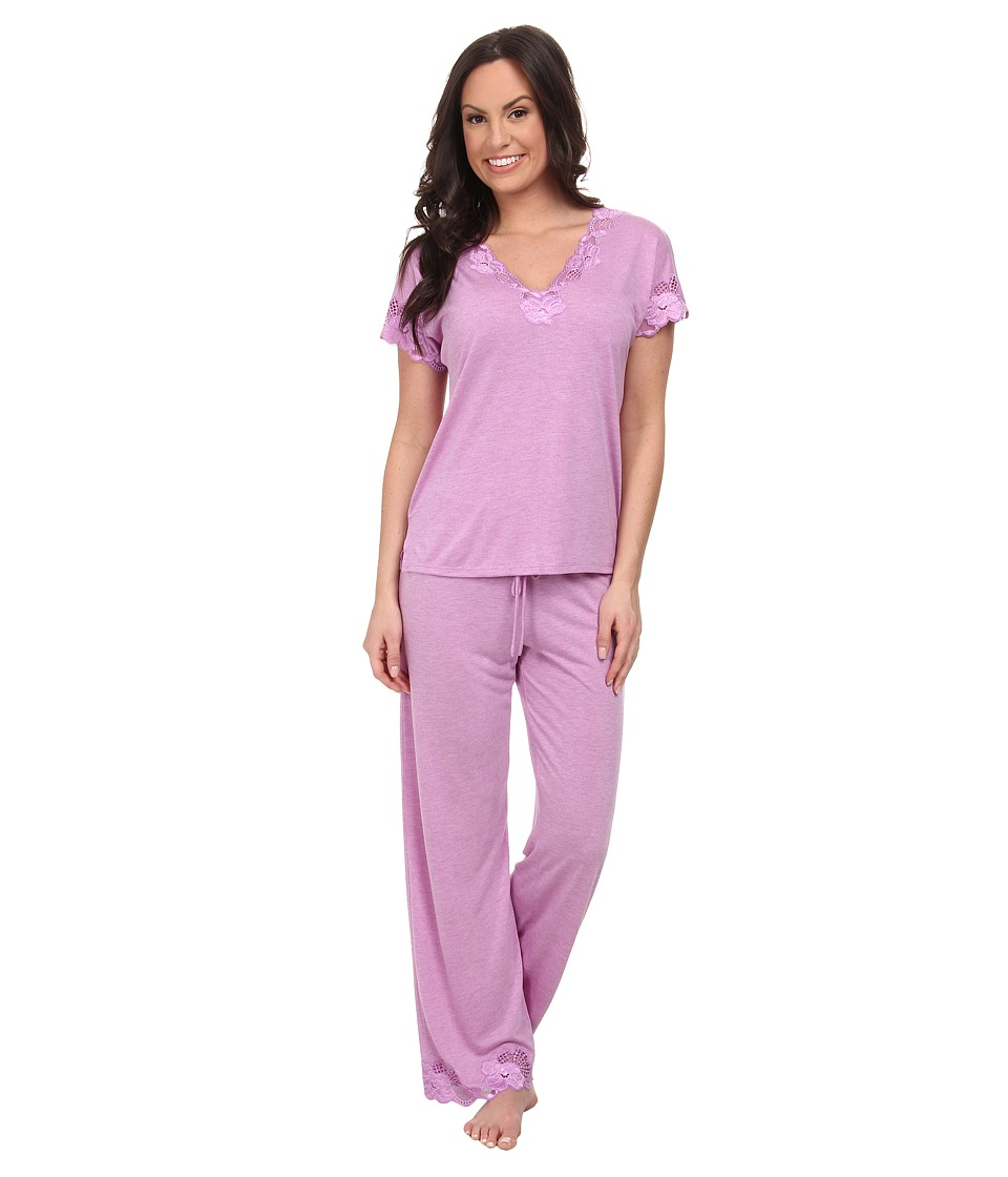 Natori - Zen Floral S/S PJ (Heather Passion Purple/Light Passion Purple Lace) Women's Pajama Sets