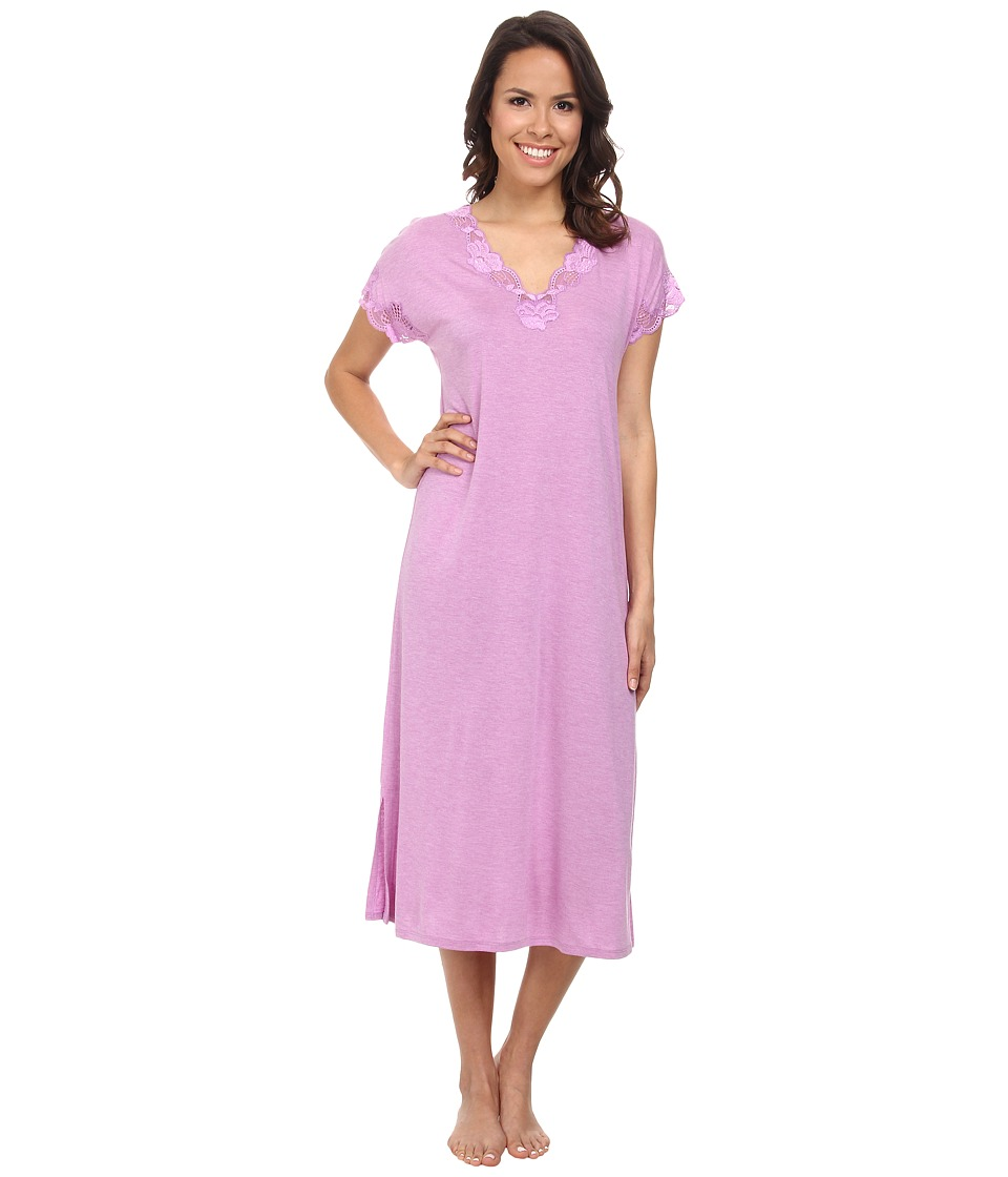 Natori - Zen Floral Nightgown (Heather Passion Purple/Light Passion Purple Lace) Women's Pajama
