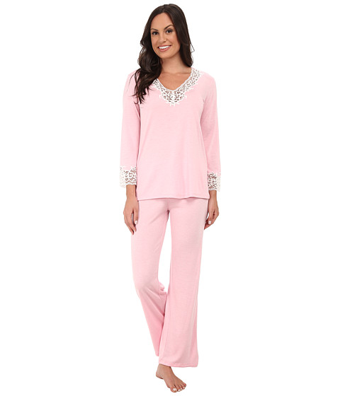 Natori - Lhasa Long Sleeve PJ (Heather Precious Pink/Ivory Lace) Women's Pajama Sets