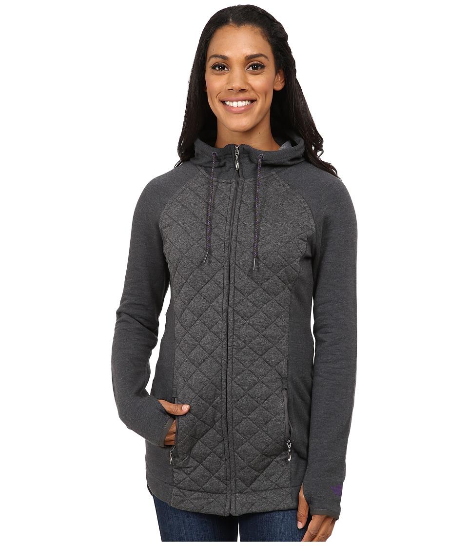 The North Face - Viola Long Full Zip (Charcoal Grey Heather) Women's Coat