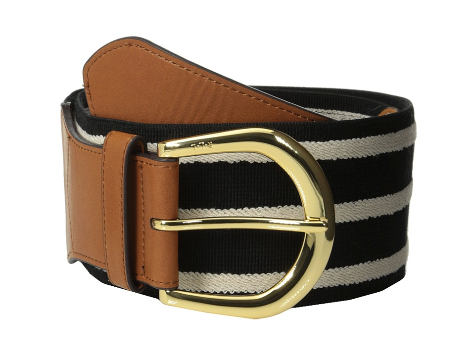 LAUREN Ralph Lauren - Stretch 3 Striped Belt (Black/Vanilla Stripe) Women's Belts