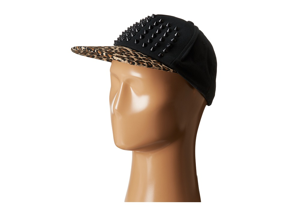 Betsey Johnson - Spike Leopard Baseball Hat (Black) Baseball Caps