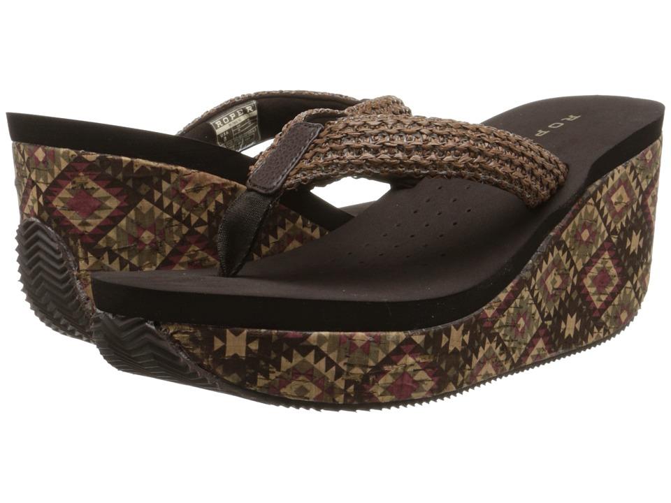 Roper - Azteckette (Brown) Women's Toe Open Shoes