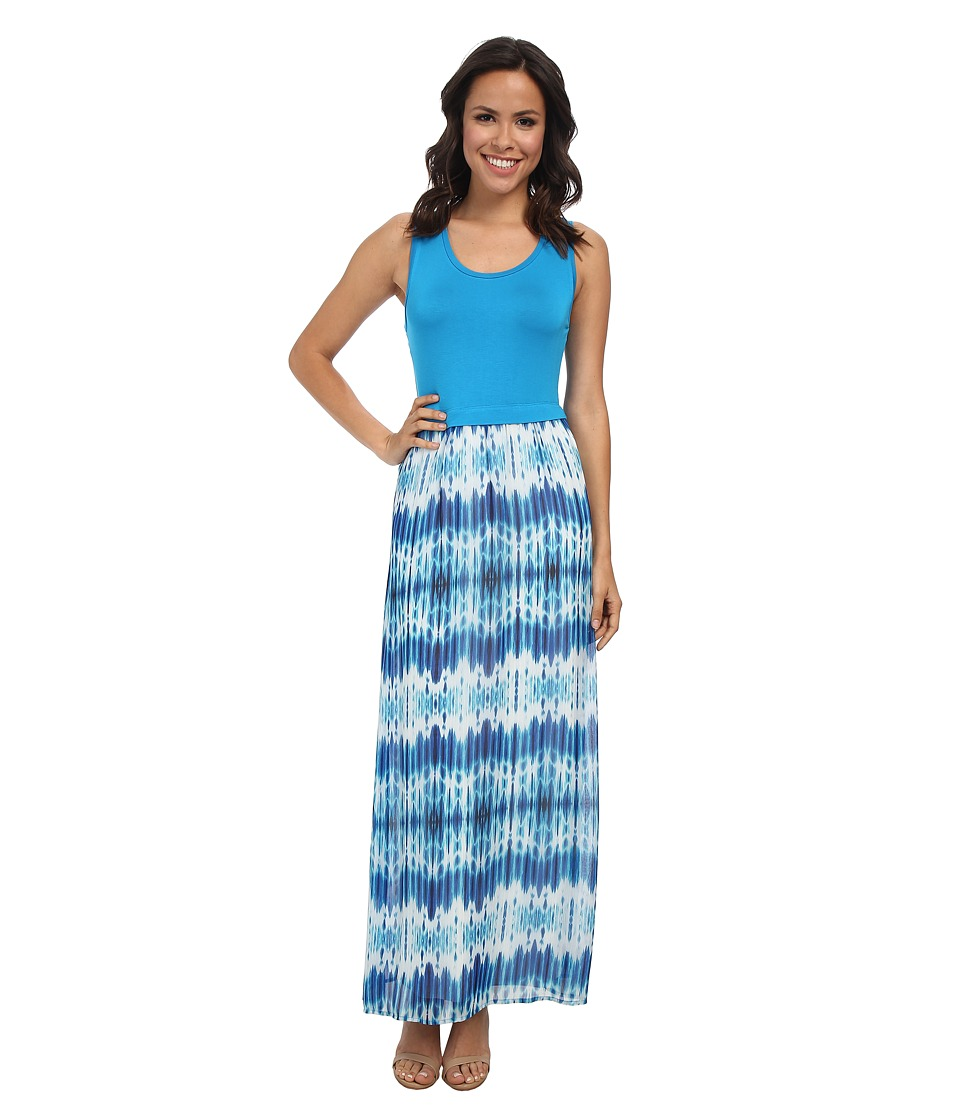 Calvin Klein - Maxi w/ Print Chiffon Bottom (Adritc Blue Multi) Women