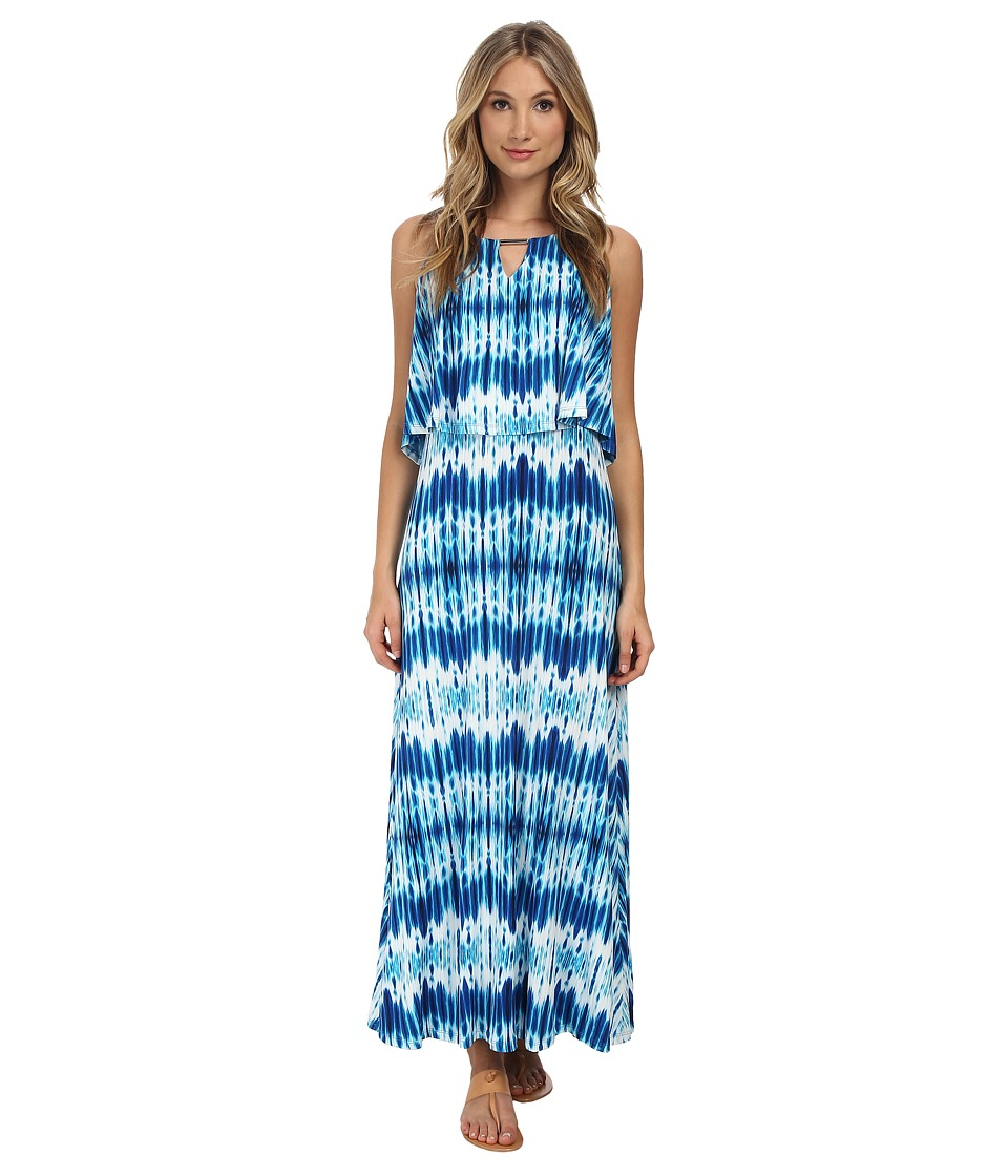 Calvin Klein - Print Double Layer Maxi (Adritc Blue Multi) Women's Dress