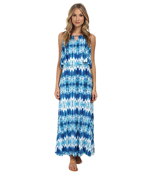 Calvin Klein - Print Double Layer Maxi (Adritc Blue Multi) Women