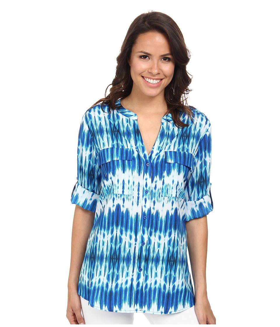 Calvin Klein - Printed Crew Neck Roll Sleeve (Adritc Blue Multi) Women's Long Sleeve Button Up