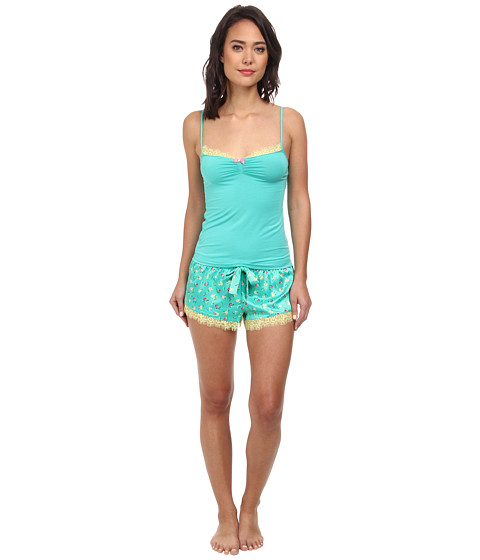 Betsey Johnson - Satin Shorts Set (Ditzyland Mojito Madness) Women's Pajama Sets