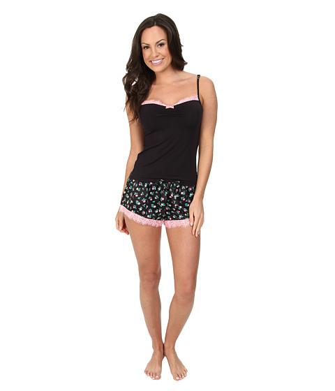 Betsey Johnson - Satin Shorts Set (Ditzyland Raven Black) Women's Pajama Sets
